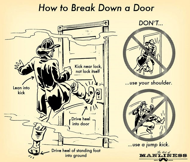 ... a child from a burning building or perhaps you\u0027re breaking into the stronghold of an enemy spy\u2014but one way or another you have to break down a door.  sc 1 st  Lifehacker & Learn How to Break Down a Door (Without Hurting Yourself)