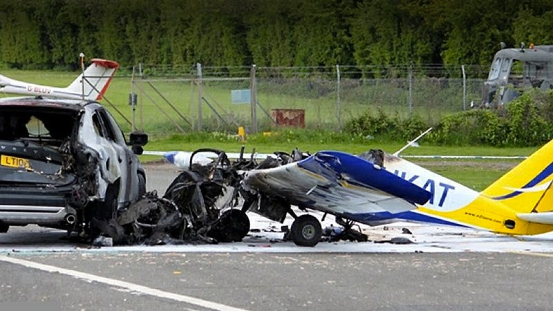 Illustration for article titled Plane Crashes Into Volvo, Volvo Wins