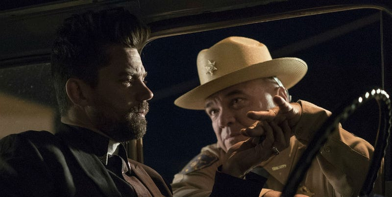 Jesse Custer (Dominic Cooper) and Sheriff Root (W. Earl Brown). Image: Lewis Jacobs/AMC