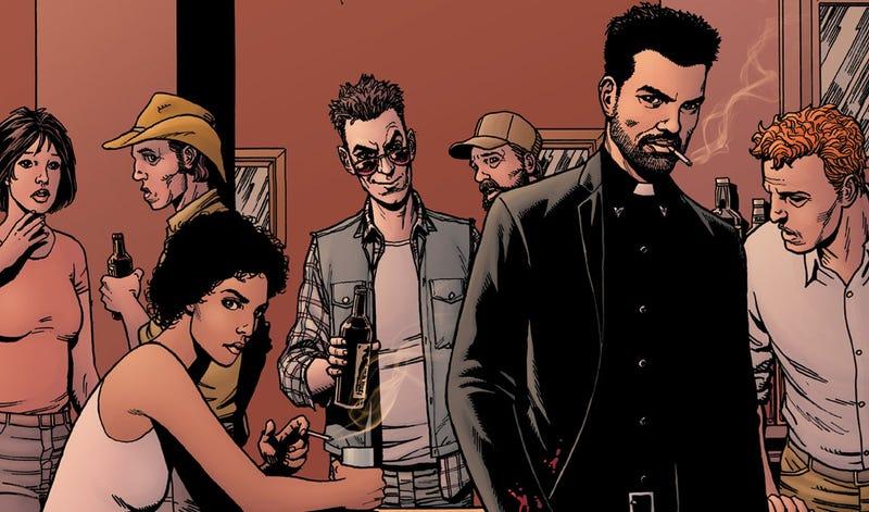 The new cast of Preacher, as drawn by co-creator Steve Dillon. Image: AMC.