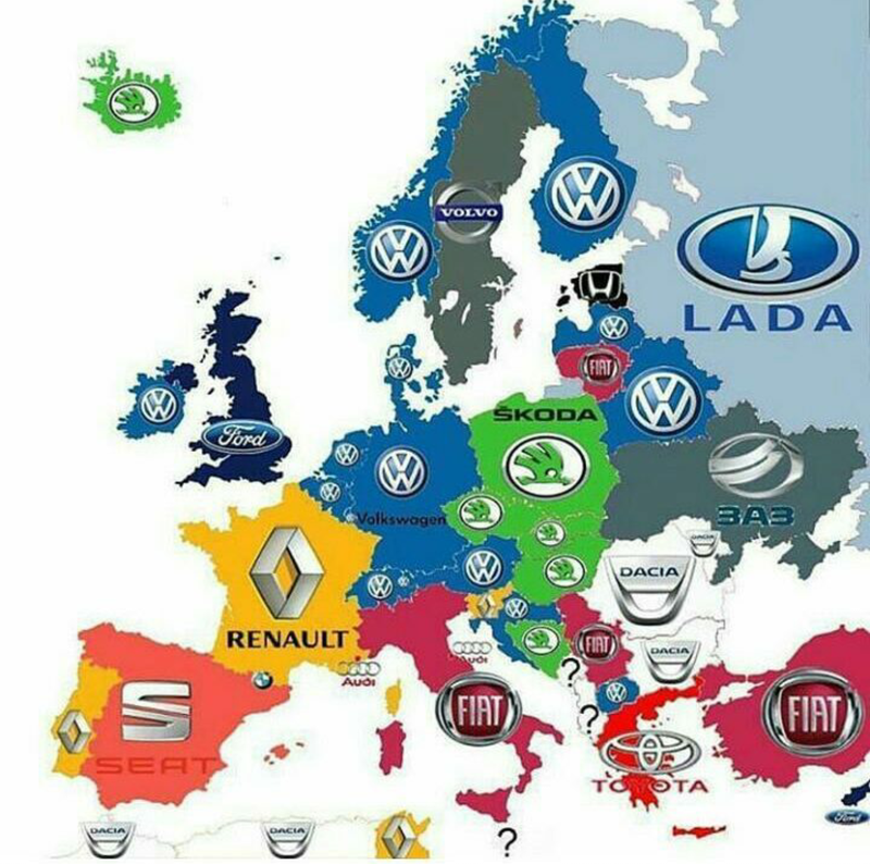 Illustration for article titled Best selling car brands in Europe