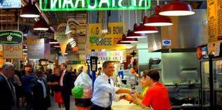 President Barack Obama at the Reading Terminal Market (Tim Sloan/AFP/Getty Images)