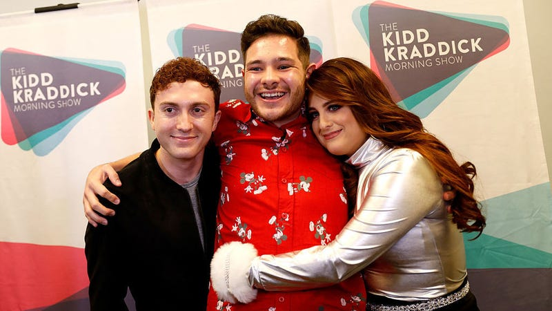 From left: Spy Kid, radio personality Part-Time Justin, Meghan Trainor / via Rick Kern/Getty Images for iHeartMedia
