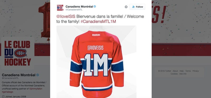 Illustration for article titled The Canadiens' Automated Twitter Promotion Has Gone Horribly Awry