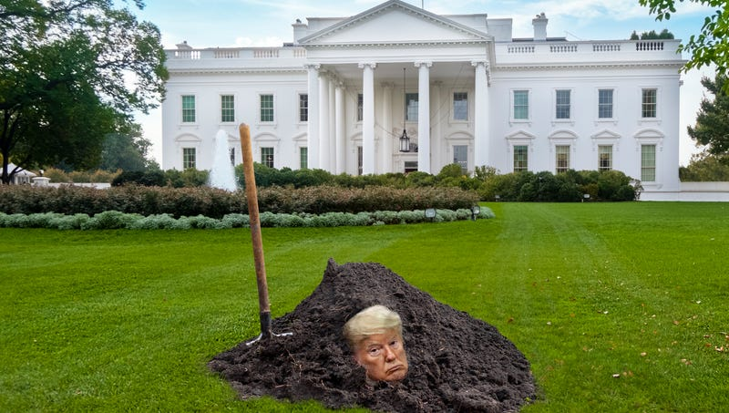 Fighting Impeachment: Trump Has Had Barron Bury Him Up To The Neck In The White House Lawn So That He Cannot Be Removed From Office