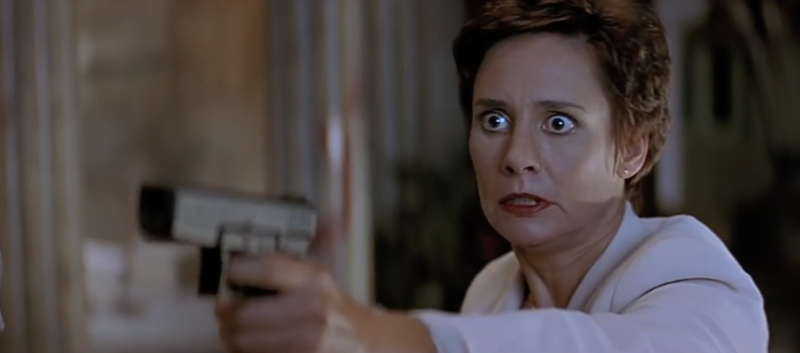 Wild eyes? Check! Laurie Metcalf as Scream 2's Mrs. Loomis.