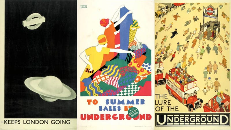 Illustration for article titled 9 Classic Posters From the London Tube's 150 Year History
