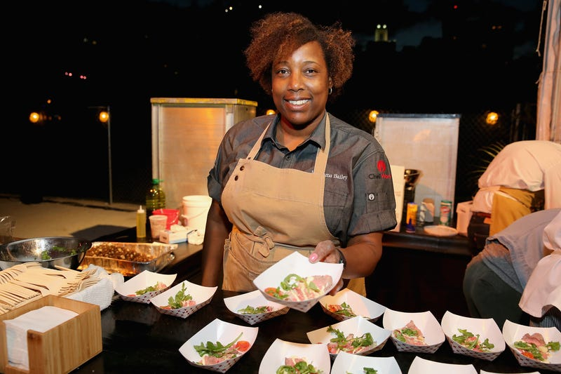 2019 Best Chef: Southeast winner Mashama Bailey serves food at MasterCard Priceless® Preview - Meatopia  during 2016 Food Network & Cooking Channel South Beach Wine & Food Festival Presented By FOOD & WINE on February 27, 2016 in Miami Beach, Florida.