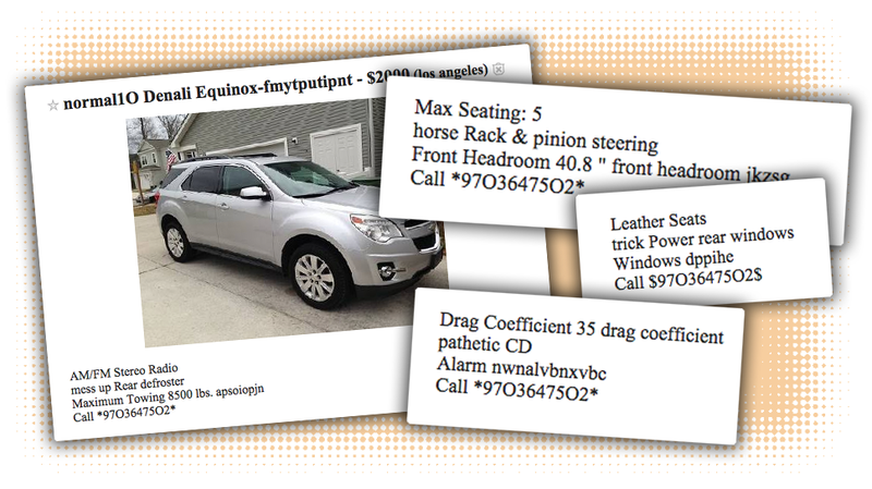 These BotGenerated Craigslist Scam Car Ads Are Unintentionally Fun - May best craigslist ad car ever