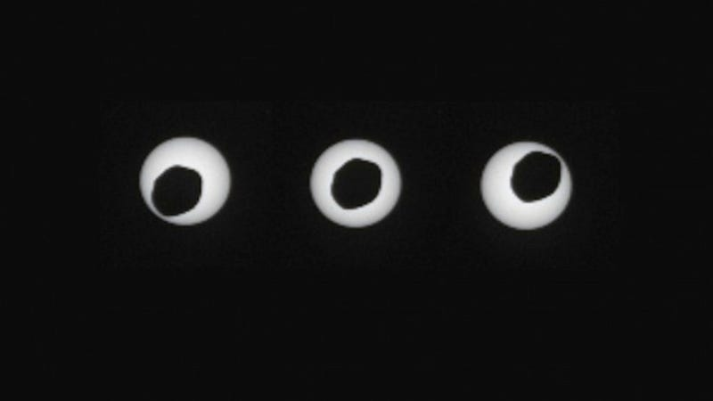 Illustration for article titled Curiosity Just Took the Sharpest Photos of a Solar Eclipse on Mars Yet