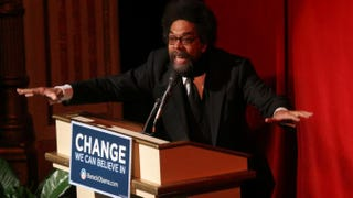 Cornel West speaks during a fundraising event hosted by then-Sen. and Democratic presidential hopeful Barack Obama at Harlem's Apollo Theatre Nov. 29, 2007.Hiroko Masuike/Getty Images
