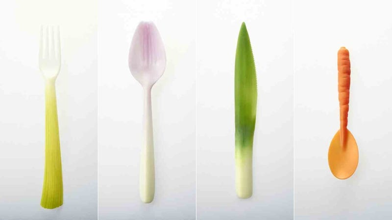 Illustration for article titled Biodegradable Cutlery Looks Like the Vegetables You'll Eat WIth It