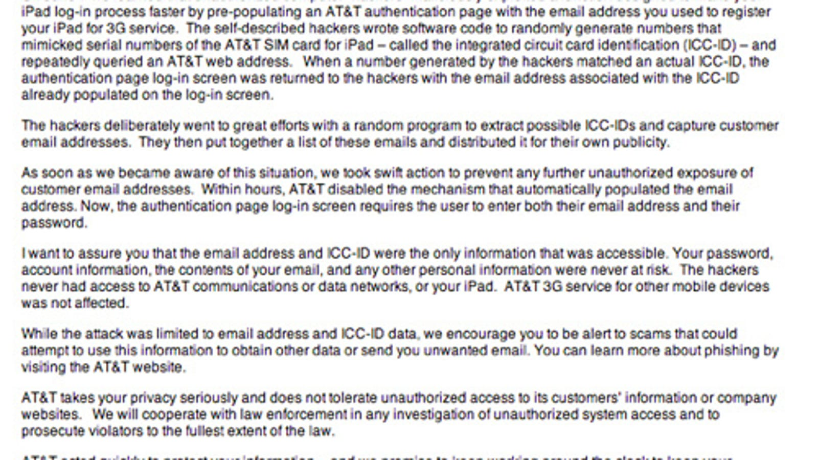 AT&T Sends Out Apologetic Email To iPad Security Breach-ees