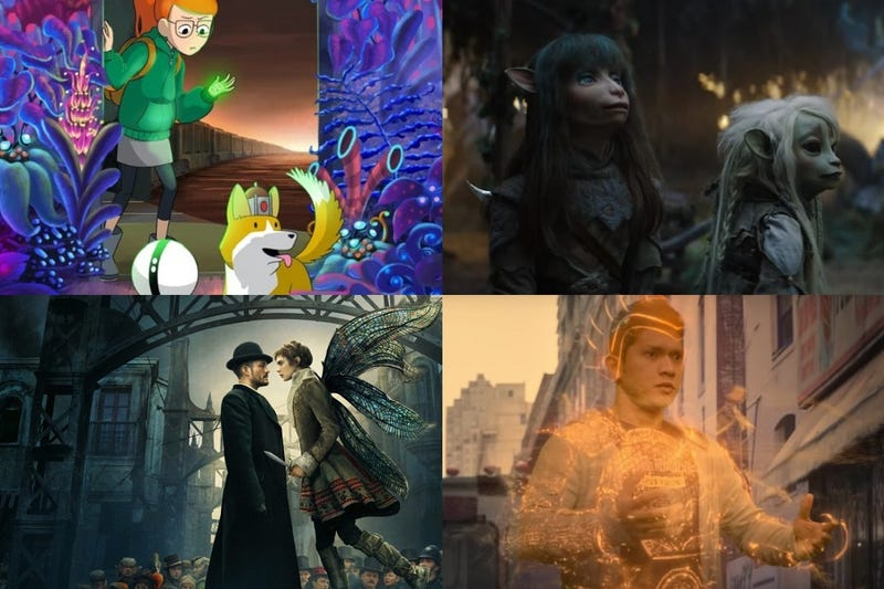 Clockwise from top left: Infinity Train, The Dark Crystal: Age of Resistance, Wu Assassins & Carnival Row.