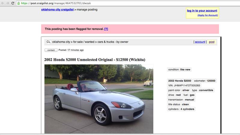 Shit I Have To Put Up With: Craigslist Flagging