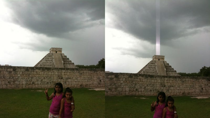Illustration for article titled Mayan Pyramid Fires Energy Beam Into the Sky or iPhone Sensor Glitch? YOU PICK!