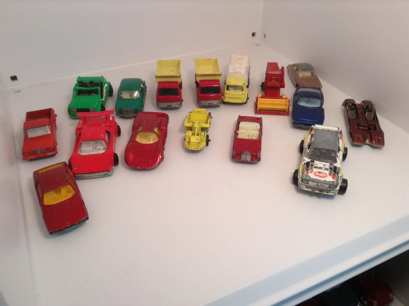 Vintage Cars. All Lesney regular wheels, except for the Superfast Lamborghini, Superfast Porsche, Majorette Custom Fiat 147 (back corner), Majorette Audi Quattro, and Majorette Lamborghini Countach.