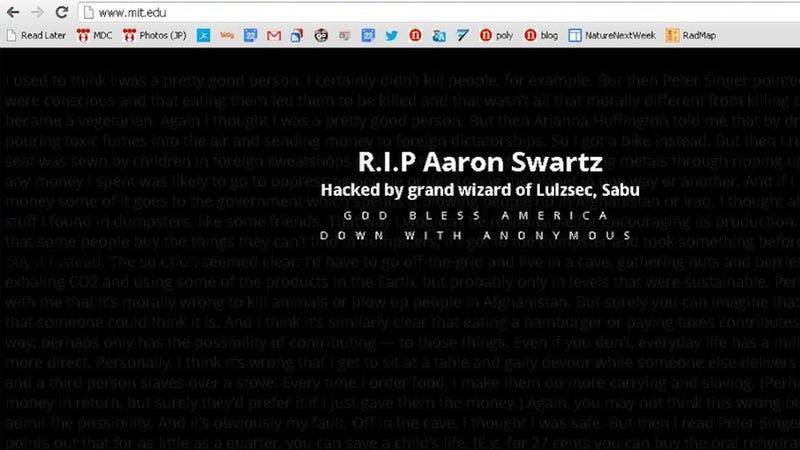 Illustration for article titled Hackers Deface Entire MIT Website in Aaron Swartz Suicide Revenge Attack (Updated: Hackers Speak)