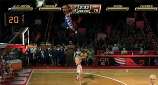 Illustration for article titled Watch Obama Bring The Rain In NBA Jam