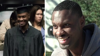 Joshua Woods (shown in his cap and gown, and on the right) could have given up when his parents died. Instead, he took his last $30 and applied to Wichita State University. He was accepted, and in December he graduated.  Fox 32 screenshot
