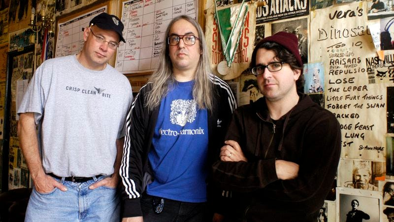 Dinosaur Jr.: Murph, J Mascis, and Lou Barlow backstage, 2005 (Photo: Lex Van Rossen/MAI/Redferns/Getty Images)