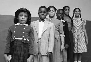 Children involved in Brown v. Board of Education: Vicki Henderson, Donald Henderson, Linda Brown, James Emanuel, Nancy Todd and Katherine Carper