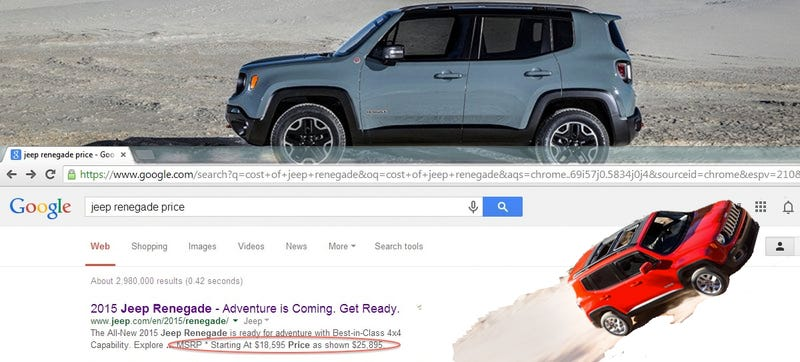 Illustration for article titled The Jeep Renegade Price Is (Probably) Not $18,595