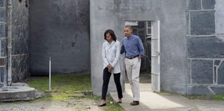President Barack Obama and first lady Michelle Obama tour Robben Island. (Saul Loeb/AFP/Getty Images)