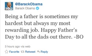 "Illustration for article titled The First Tweet: President Obama's First ""Official"" Tweet Is All Father's Day"