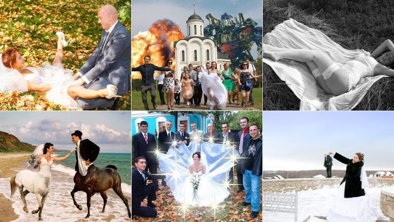 Illustration for article titled Russians Have The Bizarre Wedding Photo Game On Lock