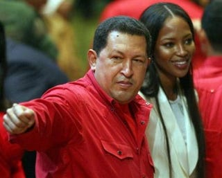 """Illustration for article titled Naomi Campbell Asks Hugo Chavez, """"Would You Go Topless Like Putin?"""""""