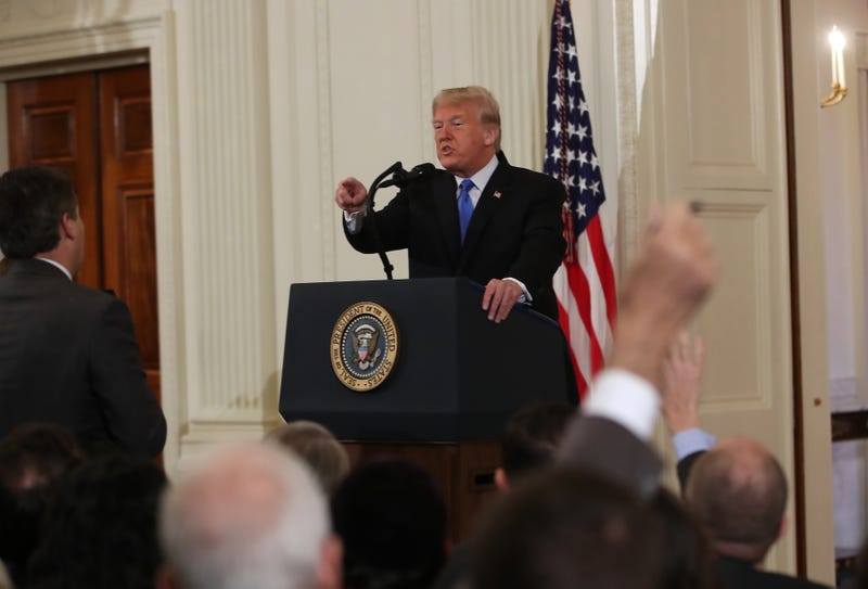 President Donald Trump gets into an exchange with Jim Acosta of CNN after giving remarks a day after the midterm elections on Nov. 7, 2018, in the East Room of the White House in Washington, DC. Republicans kept the Senate majority but lost control of the House to the Democrats.