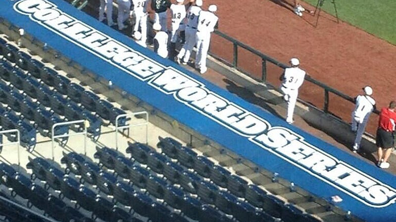 "Illustration for article titled College World Series Misspells ""College"" On Dugout"