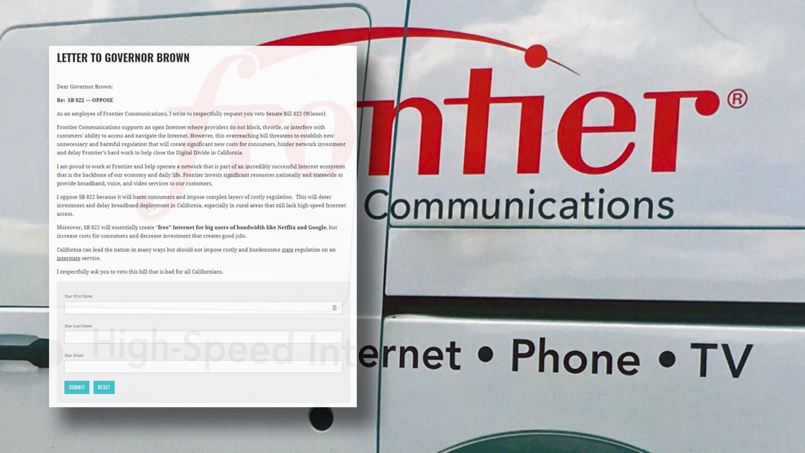 Frontier Asks Employees to Sign Anti-Net Neutrality Petition
