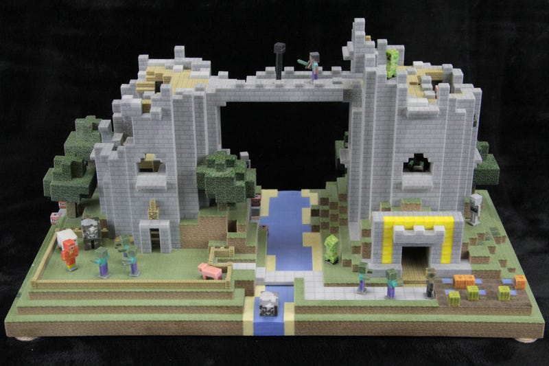 Illustration for article titled 3D-Printed Minecraft Castle