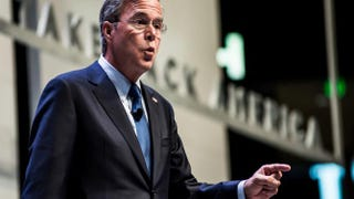 Former Florida Gov. and Republican presidential candidate Jeb Bush speaks to voters at the Heritage Action Presidential Candidate Forum Sept. 18, 2015, in Greenville, S.C.Sean Rayford/Getty Images