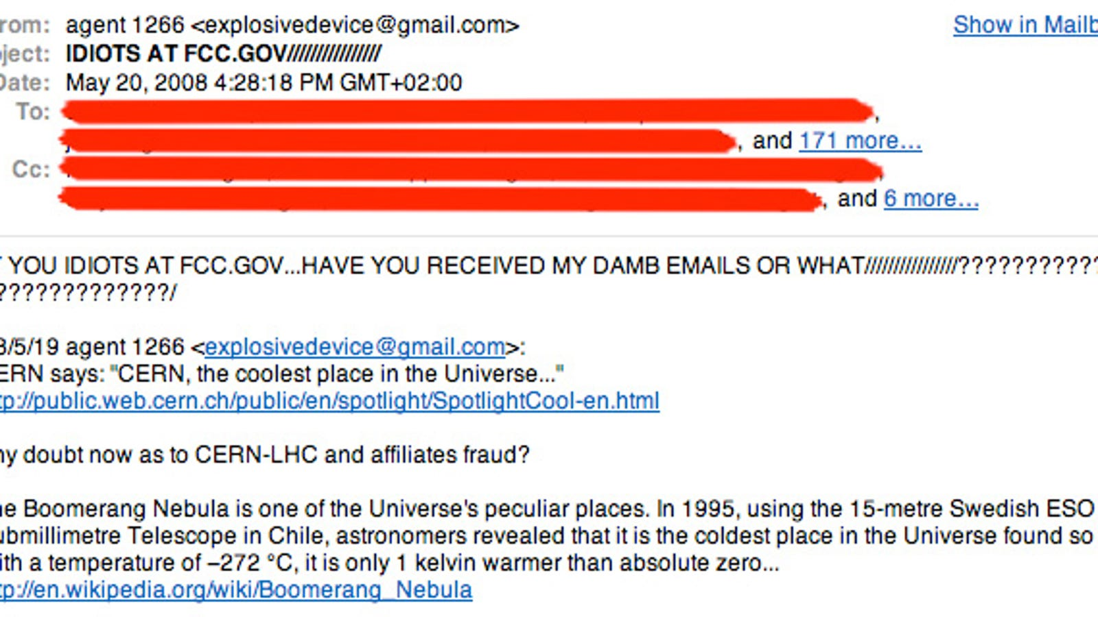 Spammer Keeps Whining About Large Hadron Collider Assploding