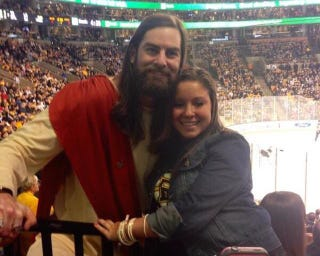 Illustration for article titled Jesus Showed Up At Today's Red Wings-Bruins Game