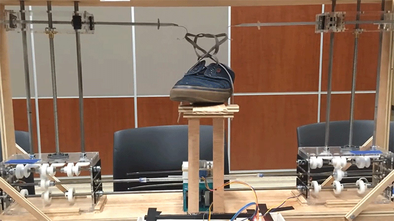 photo image This $600 Shoelace-Tying Robot Was Built on a Shoestring Budget