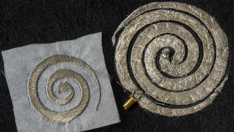 These embroidered antennas and circuits are both pretty and functional. (All images: Jo McCulty/Ohio State University)