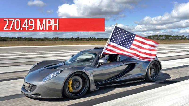 the hennessey venom gt hit 27049mph at the kennedy space center on february 14th thus becoming the fastest production car in the world by beating the