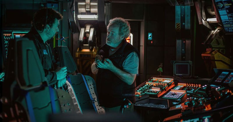 Ridley Scott and Danny McBride on the set of Alien Covenant. Image: Fox