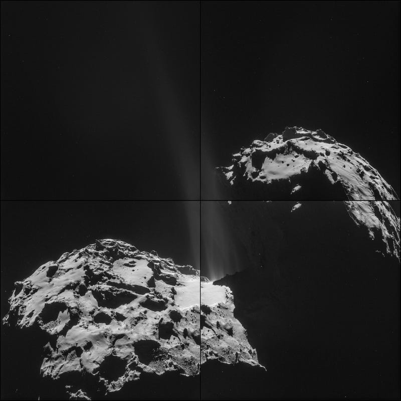 "Illustration for article titled Rosetta Captures Thrilling Close-Up Image Of Comet ""Firing Its Jets"""