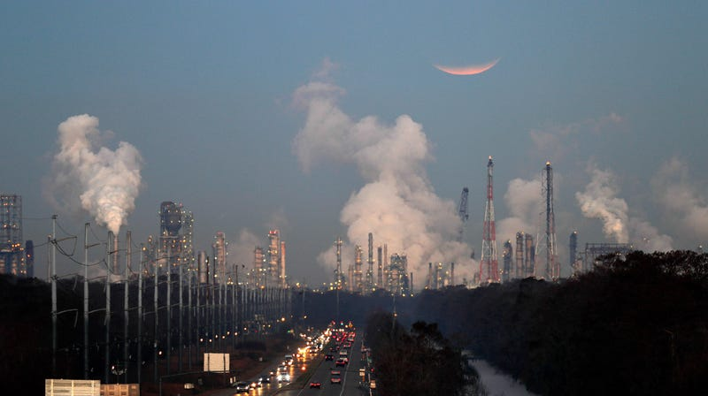 A tiny preview of the realities of Cancer Alley. These are gas refineries in St. Charles Parish, Louisiana, through where next week's march will run.