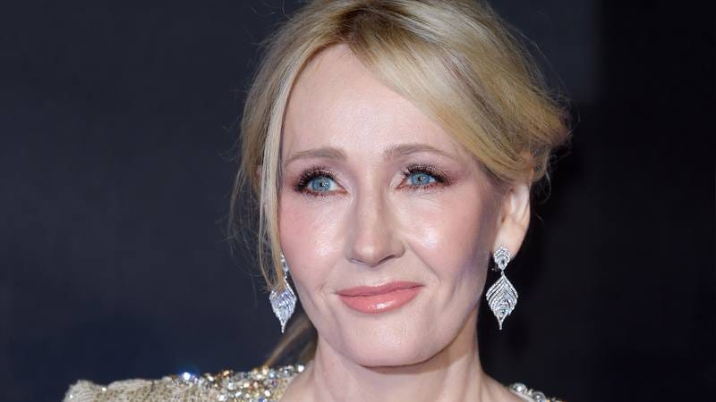 J.K. Rowling posing for a photo.