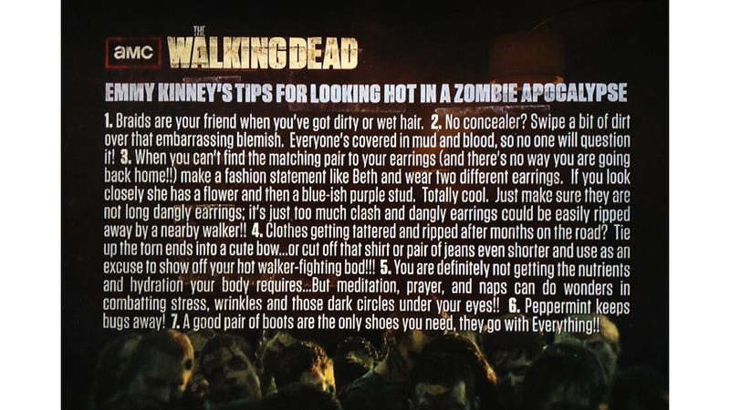 Illustration for article titled Beauty Tips For the Zombie Apocalypse From The Walking Dead