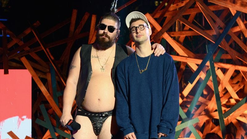 The Fat Jew with Bleachers' Jack Antonoff at the 2015 MTVU Woodie Awards ( (Image by: Getty Images)