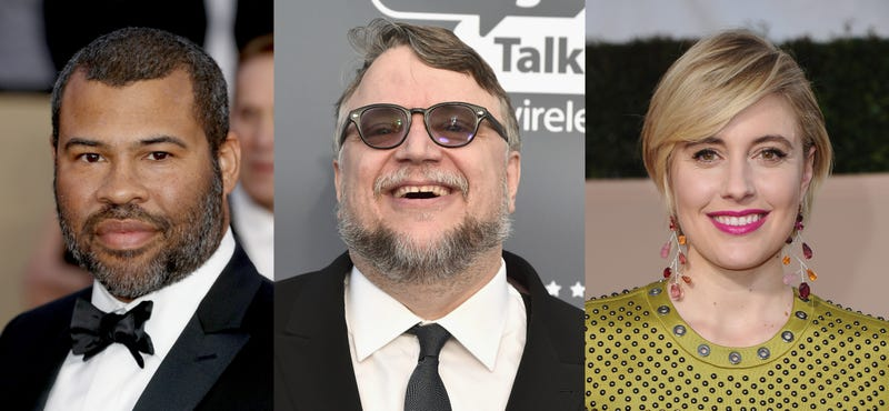 Jordan Peele (Photo: Frederick M. Brown/Getty Images), Guillermo Del Toro (Frazer Harrison/Getty Images), and Greta Gerwig (Photo: Jon Kopaloff/Getty Images)