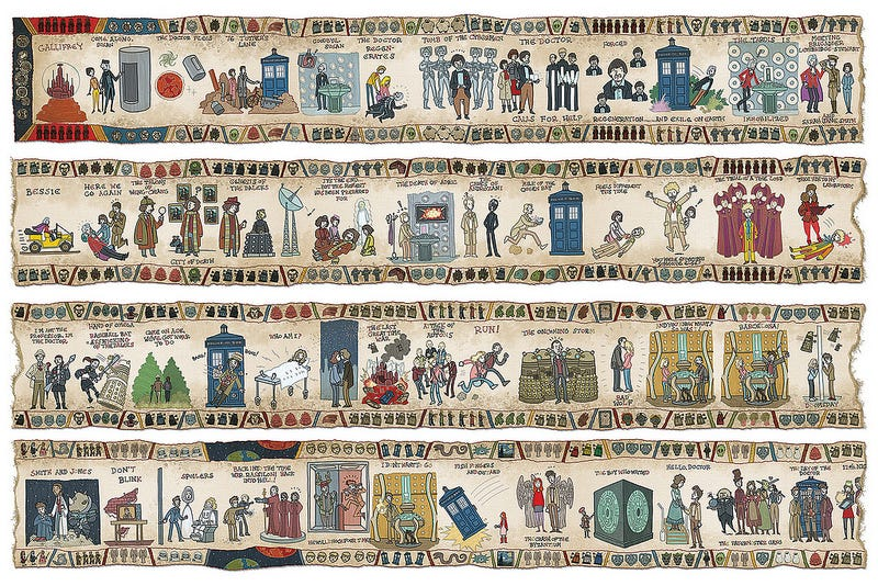 Illustration for article titled Bayeux Tapestry, Doctor Who style!