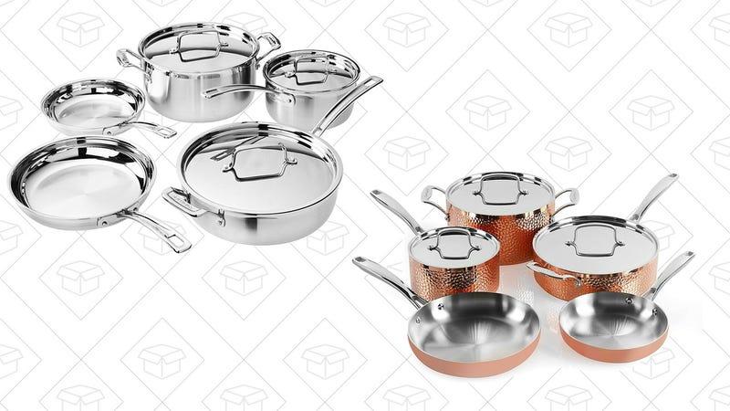 Cuisinart MCP-8NW MultiClad Pro Set (8-piece)   $140   AmazonCuisinart HCTP-8W Hammered Copper Set (8-Piece)   $205   Amazon
